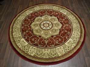 Woven Backed Circle Red Traditional Carved Rug 150cm x 150cm Circular Top Quality